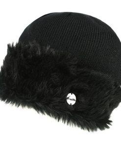 Regatta Strickmütze »Damen Baumwolljersey-Mütze Luz mit Kunstfell-Besatz« schwarz