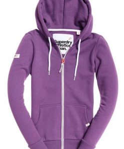 Superdry Kapuzensweatjacke »LA ATHLETIC ZIPHOOD« mit kontrastfarbenen Details lila