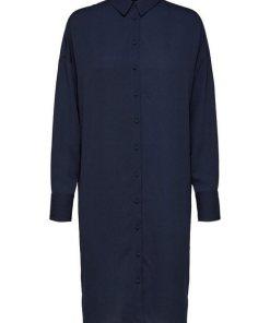 SELECTED FEMME Midi Blusenkleid blau