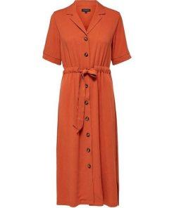 SELECTED FEMME Gürtel Blusenkleid orange