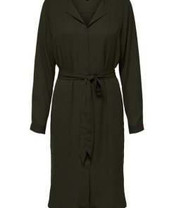 SELECTED FEMME Recyceltes Polyester Midikleid braun