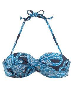 LASCANA Bügel-Bandeau-Bikini-Top »Boho«  mit Paisleymuster blau