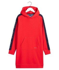 Gant Sweatkleid mit Kontraststreifen und Logodruck am Ärmel rot