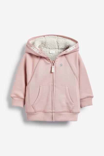 Next Kapuzenjacke mit Reißverschluss und Fleece-Futter rosa