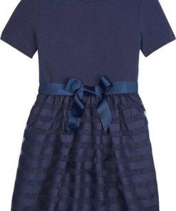 TOMMY HILFIGER Sommerkleid »ORGANZA STRIPE COMBI DRESS« mit Bindeband in der Taille