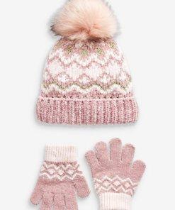 Next Mütze und Handschuhe  Set 2 teilig rosa