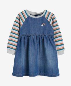 Next Kleid mit Regenbogen-Ärmeln blau