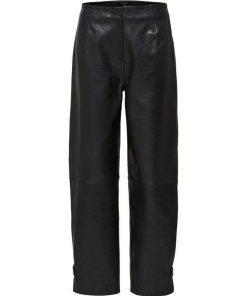 SELECTED FEMME Cropped Lederhose schwarz