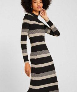 Esprit Gestreiftes Midi-Kleid aus Jersey schwarz