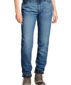 Eddie Bauer 5-Pocket-Jeans Boyfriend Jeans mit Flanellfutter blau