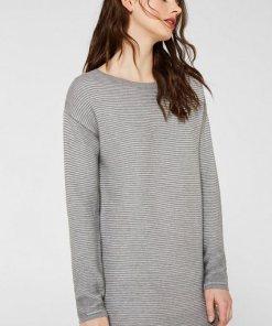 Esprit Kleid aus Ripp-Strick  100% Baumwolle grau