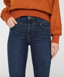 Esprit Stretch-Jeans High Waist  mit modischen Ziernähten in der Taille blau