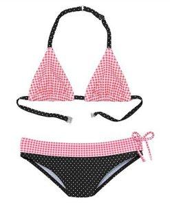 Buffalo Triangel-Bikini mit Mustermix aus Karo und Punkten schwarz