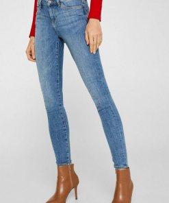 Esprit Superstretch-Jeans mit Used-Effekten blau