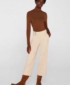 Esprit Collection Flanell-Culotte mit breitem Bund braun