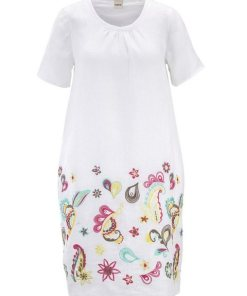 heine CASUAL Kleid mit Stickerei und Nahttaschen weiß