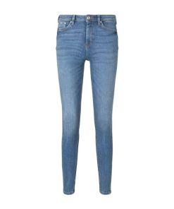 TOM TAILOR DENIM Damen Nela Extra Skinny Jeans mit Schlitzen, blau, Gr.28