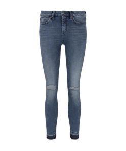TOM TAILOR DENIM Damen Jona Extra Skinny Jeans mit Rissen, blau, Gr.28