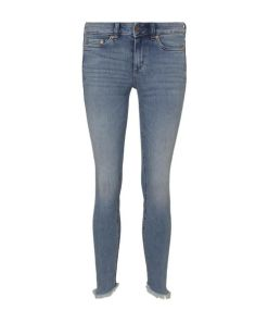 TOM TAILOR DENIM Damen Jona Extra-Skinny Jeans mit Fransen, blau, Gr.32