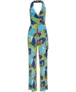 Neckholder-Jumpsuit mit Print ohne Ärmel blau bonprix