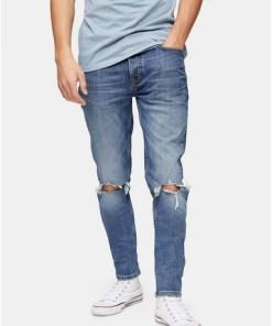 BLAUSkinny Jeans in mittlerer Waschung mit extremen Einrissen, BLAU
