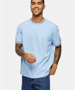 T-Shirt aus Piqué-Stoff mit Kontraststreifen, blau, BLAU
