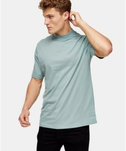 T-Shirt mit Rollkragen, salbeigrün, GRÜN