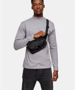 Langärmeliges T-Shirt mit Rollkragen, grau, GRAU