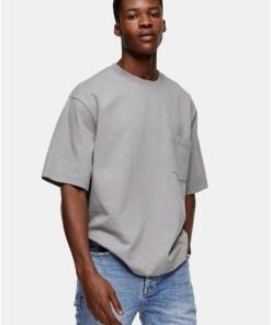 Considered T-Shirt aus Biobaumwolle mit Tasche, grau, GRAU