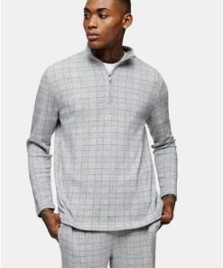 T-Shirt mit Halbrollkragen und Karomuster, grau, GRAU