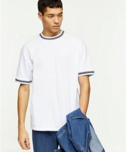 Piqué-T-Shirt mit Kontraststreifen, weiß, WEIß