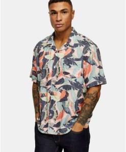 MULTISchmales Hemd mit Reverskragen und Palmen-Print, Pink, MULTI