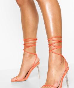 Womens Stilettos Mit Gebundenem Riemchen Und Transparentem Absatz - Orange - 36, Orange