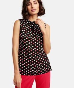 Ärmellose Bluse mit Dots-Print Schwarz 34/XS