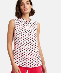 Ärmellose Bluse mit Dots-Print Weiss 44/L