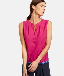 Ärmellose Bluse mit Trikotbund Pink 38/S
