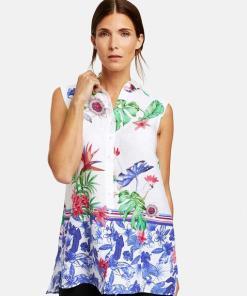 Ärmellose Bluse mit Dschungel-Print Mehrfarbig 36/S