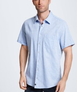Baumwoll-Leinen-Hemd Corvin, washed blue