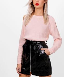 Womens Cold-Shoulder-Pulloverkleid Im Perlmuster - Hautfarben - S, Hautfarben