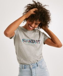 T-Shirt mit Text-Print