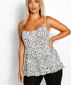 Womens Plus Dalmatian Print Tiered Smock Cami - White - 42, White