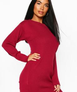 Womens Petite Geripptes Pulloverkleid Aus Strick Mit Rollkragen - Beerenrot - L, Beerenrot