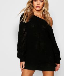 Womens Petite Schulterfreies Pulloverkleid Mit Waffelmuster - Schwarz - L, Schwarz
