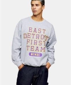 Sweatshirt mit 'East District'-Print, grau, GRAU