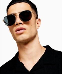 QUAY 'Apollo' Sonnenbrille mit schwarzer Fassung, rauchgrau, SCHWARZ