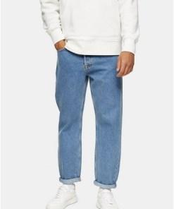 BEIGEJeans in lockerer Passform, mittlere Waschung, BEIGE