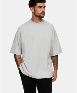 Oversize-T-Shirt mit Rollkragen, hellgrau, GRAU