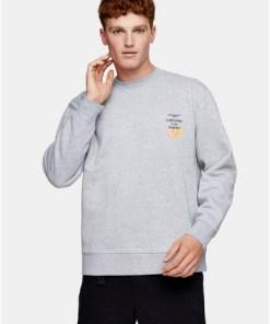 Sweatshirt mit 'LA'-Print, grau meliert, GRAU