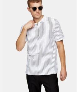 Baseball-T-Shirt mit Streifen, weiß, WEIß