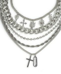 SILBERMehrreihige Halskette mit Anhänger, SILBER